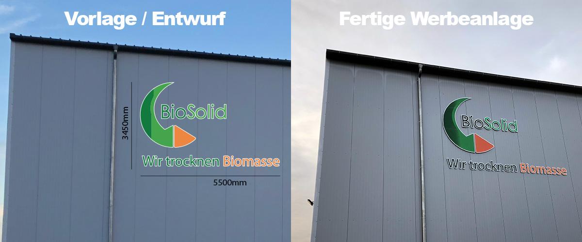 Bild von der Fassadenbeschriftungen als Entwurf und die fertige Lichtwerbung als Collage.